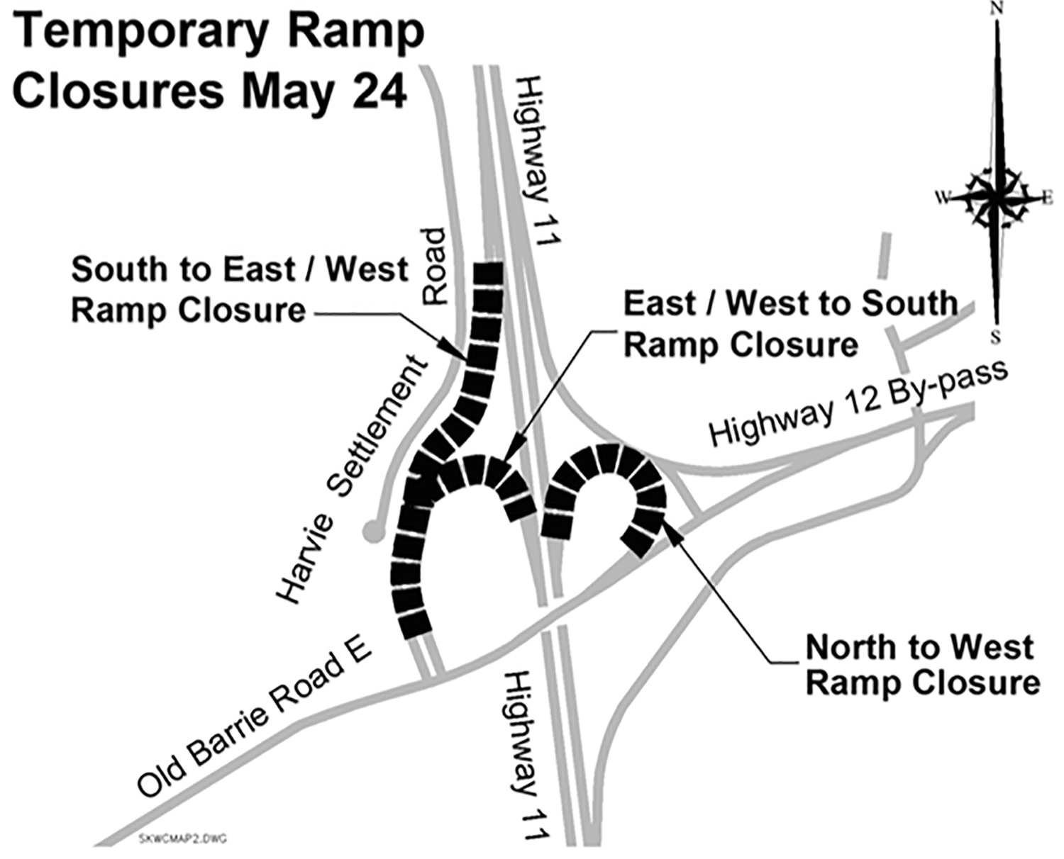 Map of Highway ramp sections to be temporarily closed.