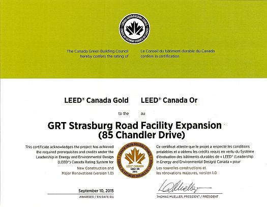 GRT LEED Gold Certificate