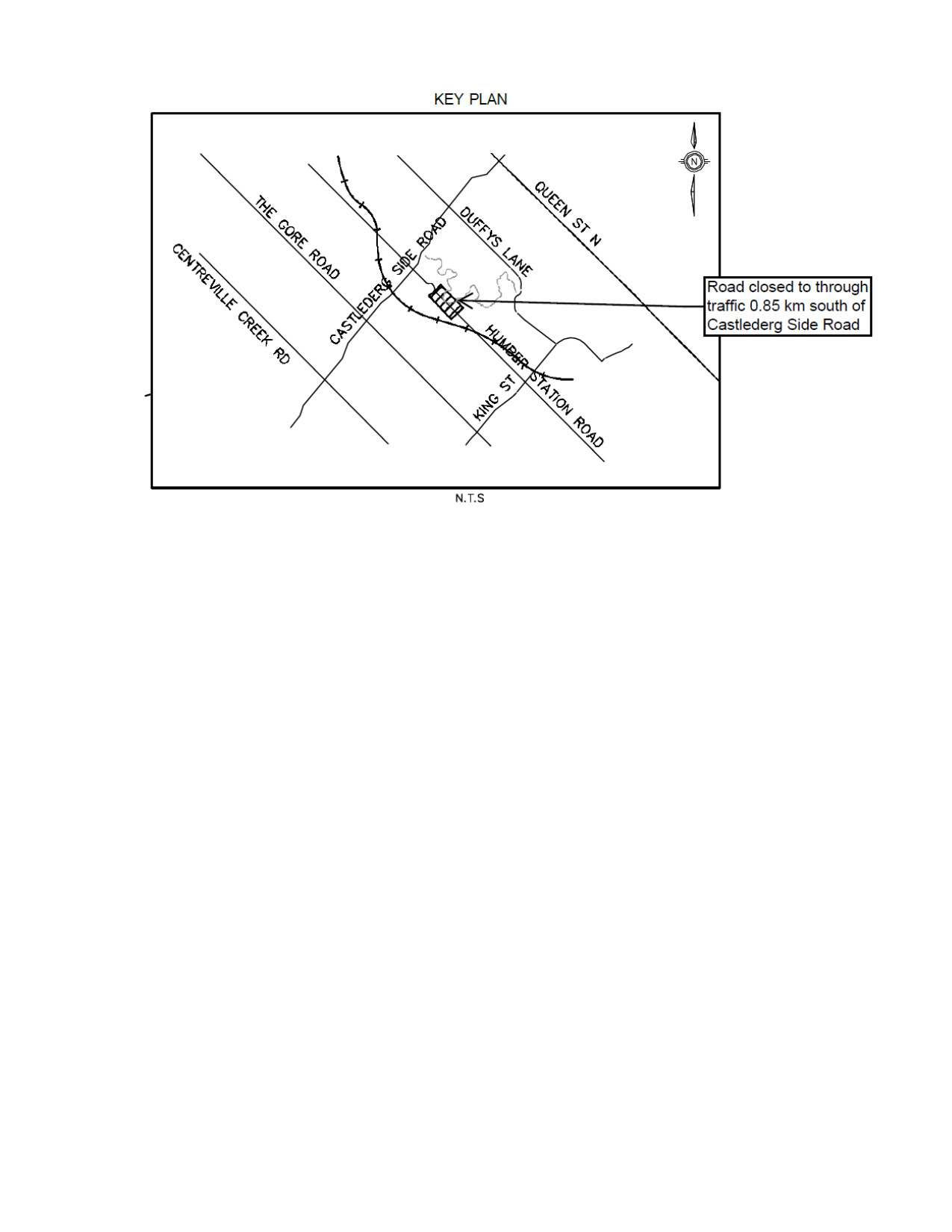 Map of Humber Station Road Reconstruction Site