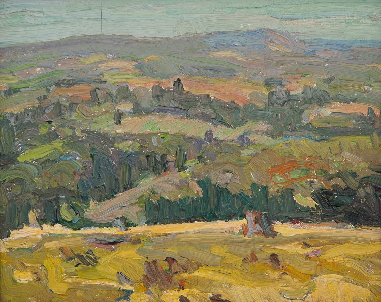 George Paginton, Canadian (1901-1988) Caledon, Ontario, 1940, Oil on canvas board, 21.75 x 27 cm, @Collection of Tony Paginton and Roswita Busskamp, 2018.