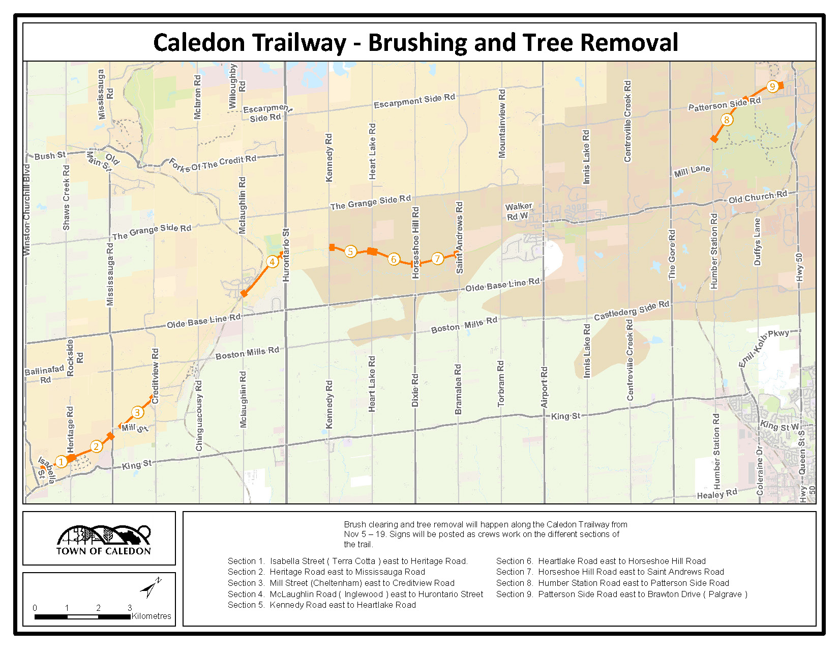 Caledon Trailway brush clearing and tree removal