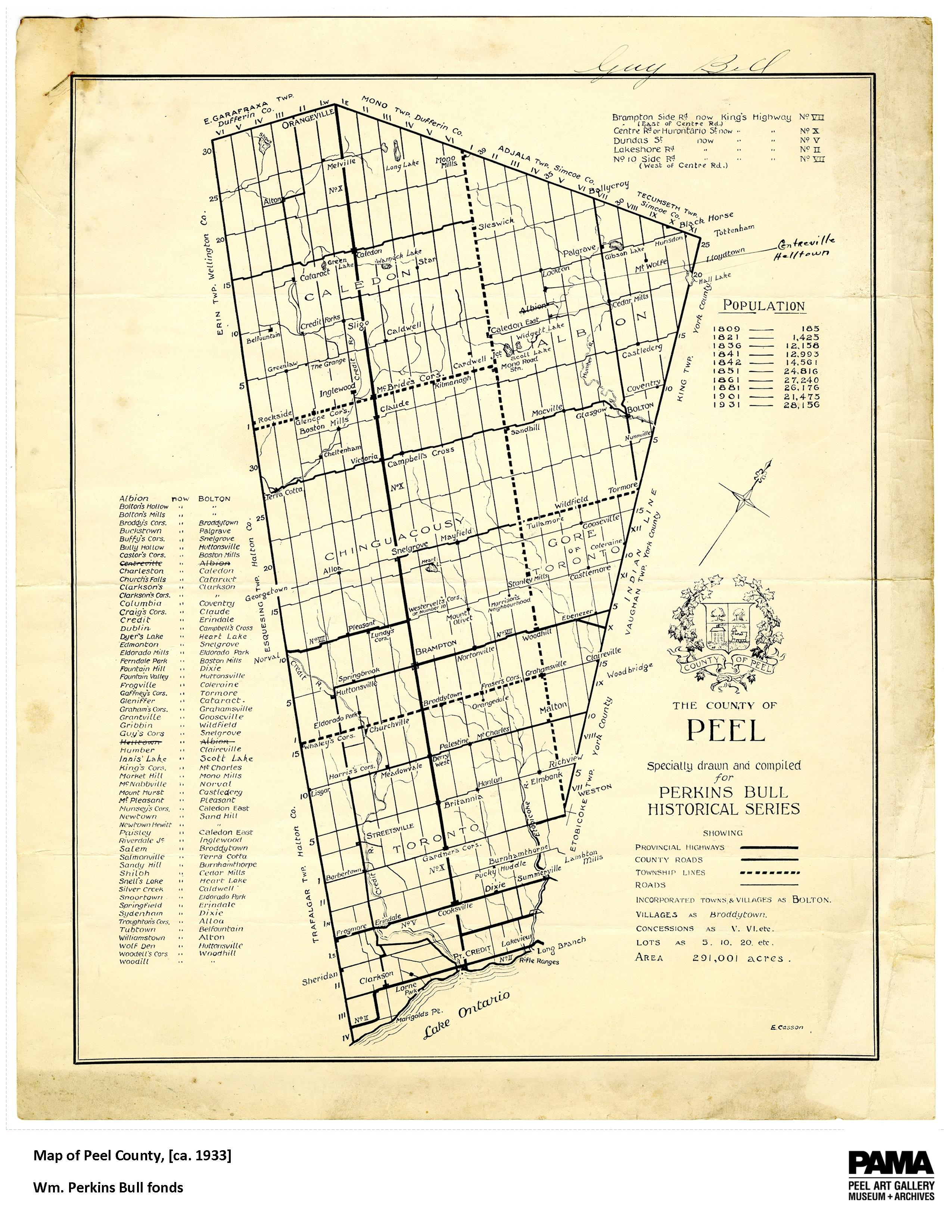Map of Peel County, ca. 1933 (WP Bull fonds)