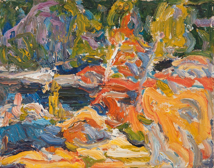 George Paginton, Canadian (1901-1988)  Lake in the Woods, c. 1969, Oil on board 20 x 25.5 cm @Collection of Tony Paginton and Roswita Busskamp, 2018.