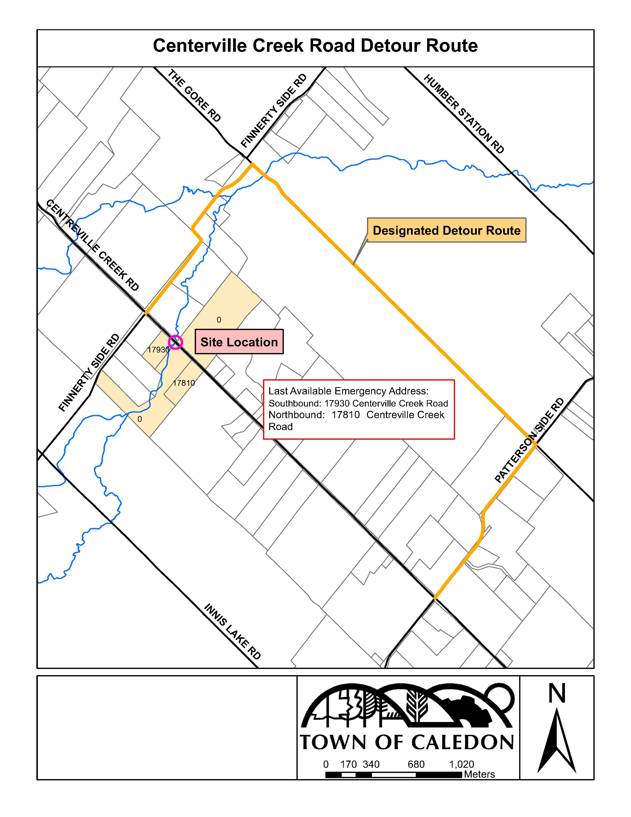 Centreville Creek Road Detour