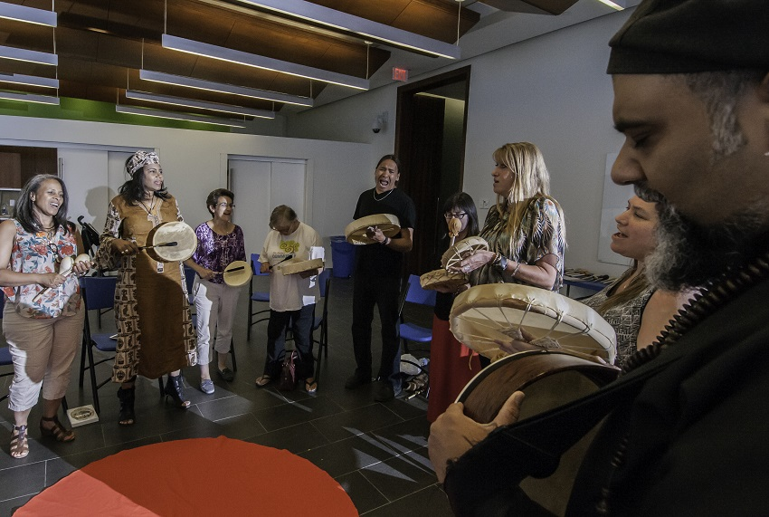 Indigenous drumming circle in partnership with the Peel Aboriginal Network