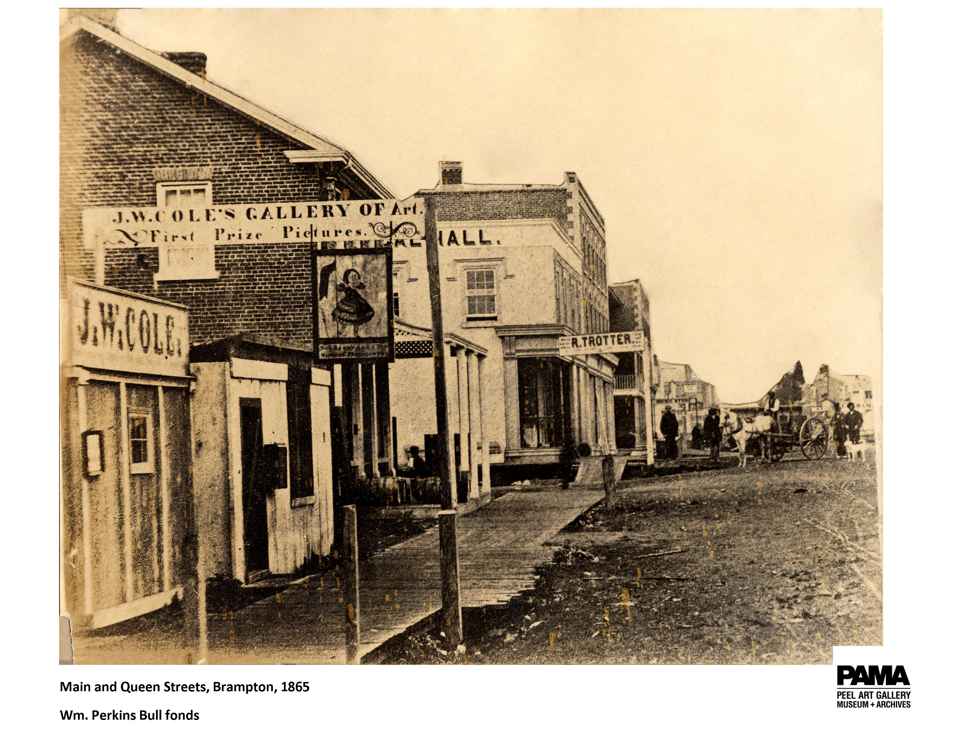 Main and Queen, Brampton, 1865 (WP Bull fonds)