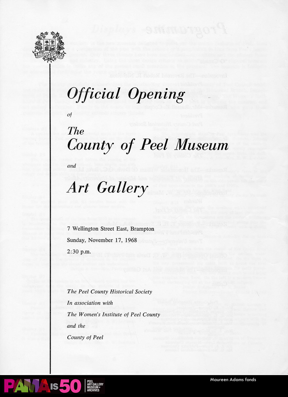 Official Opening Document, 1968