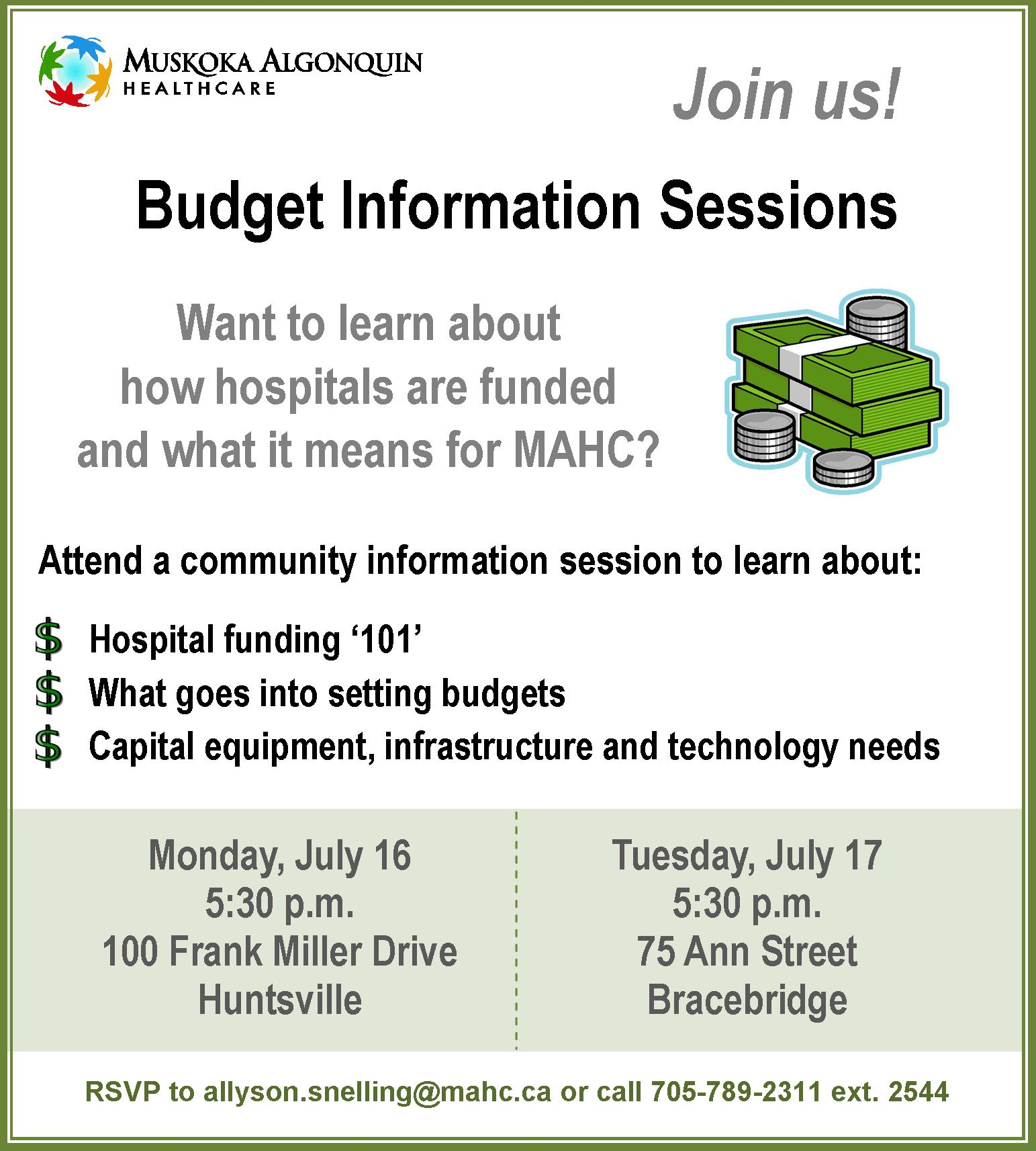 Public Notice for Community Budget Information Sessions