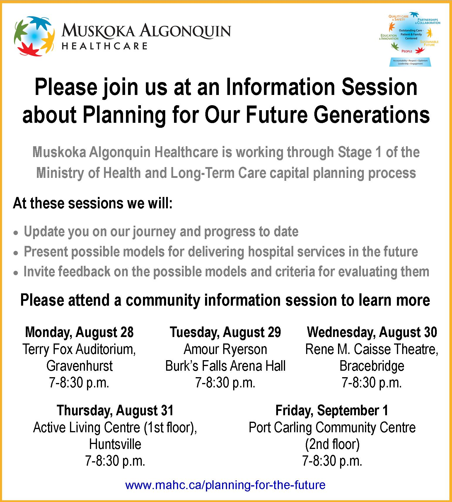 Community Information Sessions August Schedule