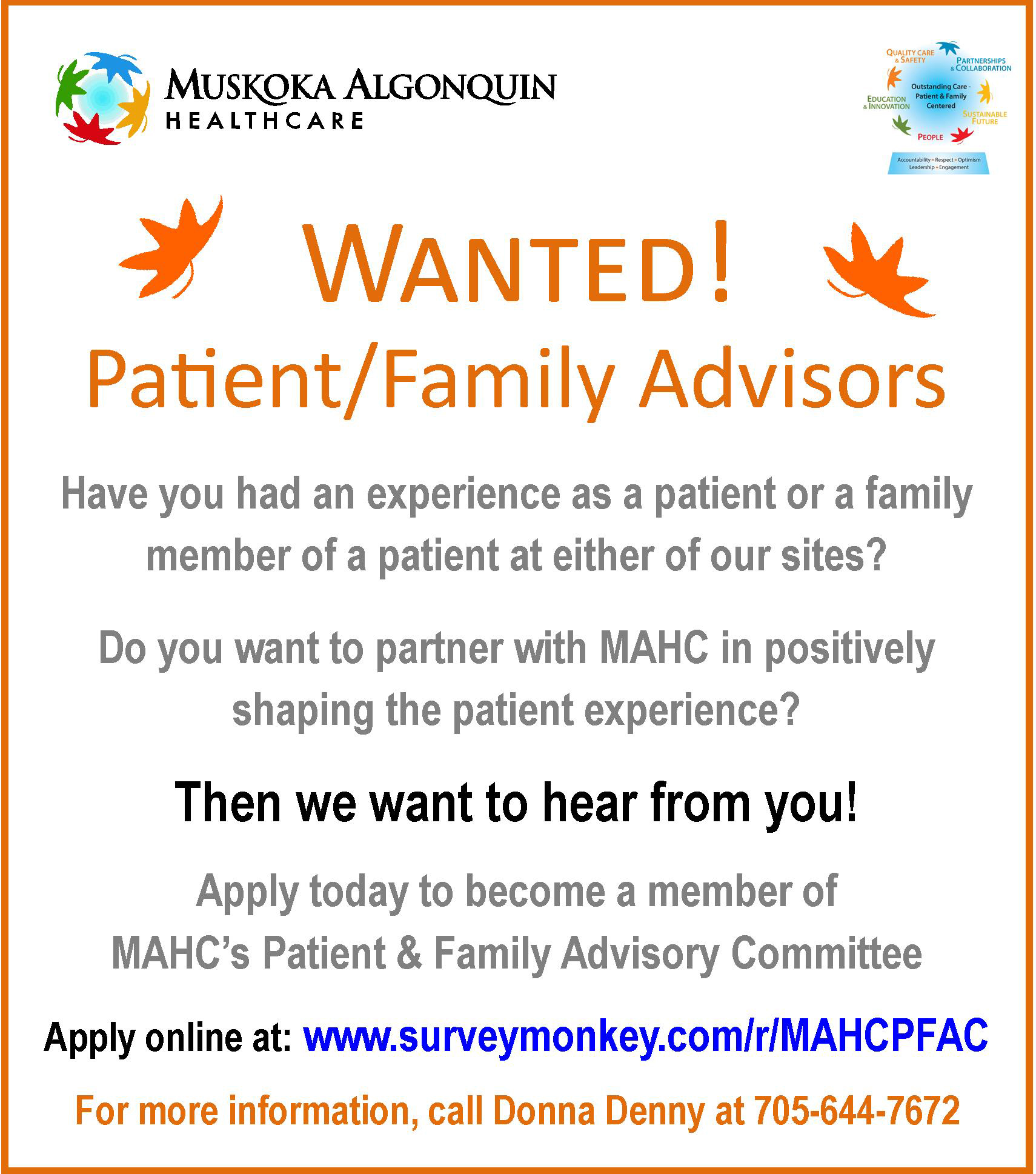 Patient and Family Advisory Committee Recruitment Notice