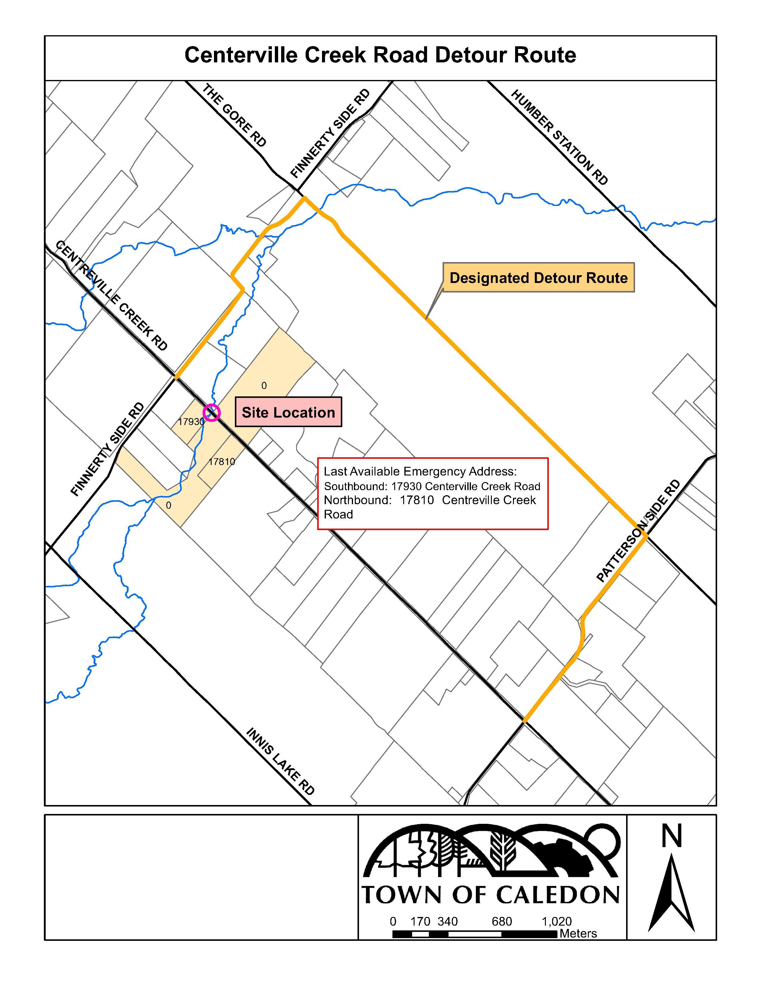 Centreville Creek Road Detour