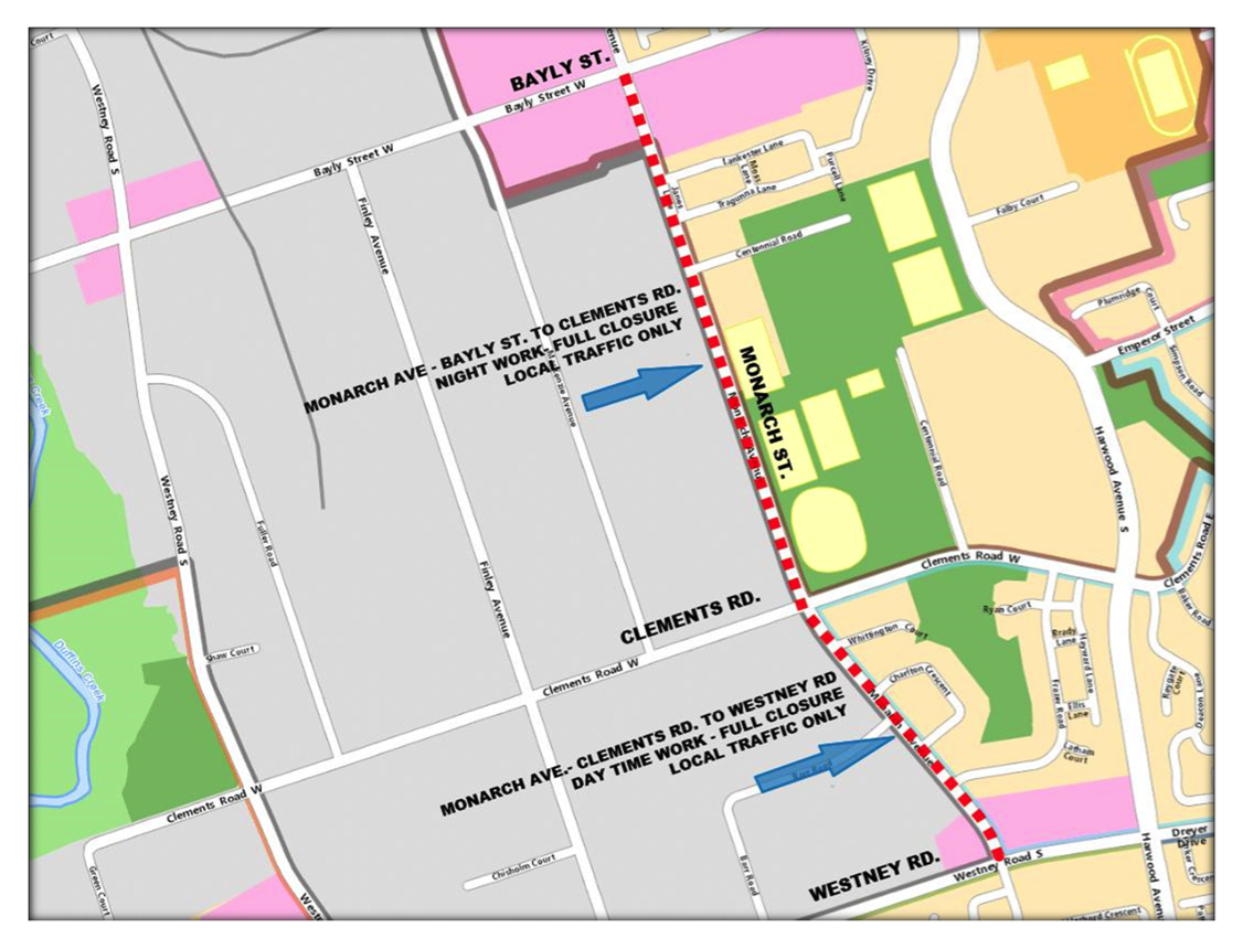 Road Resurfacing Monarch Avenue – Bayly Street to Westney Road
