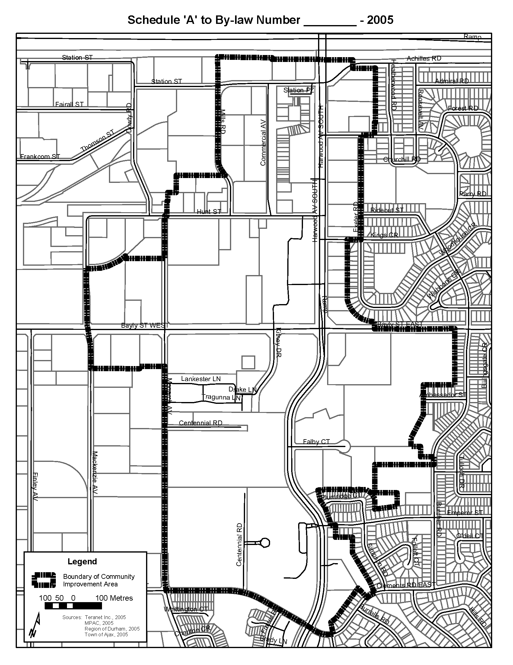 Area Boundaries for the Town of Ajax Downtown Community Improvement Project Area