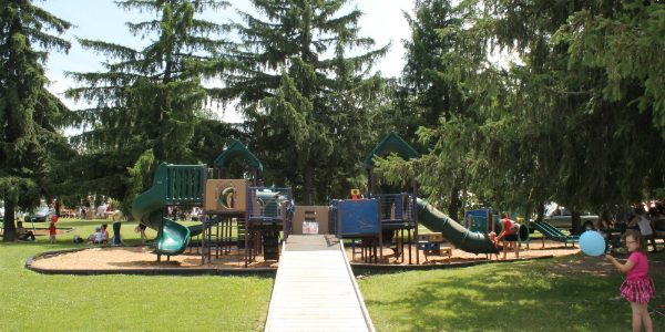 Play structure at Island Park